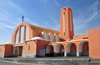 Laâyoune / El Aaiun, Saguia el-Hamra, Western Sahara: Spanish Cathedral - Spanish-Saharan architecture - Plaza de África - photo by M.Torres